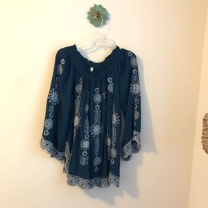 Free People • teal embroidered peasant top